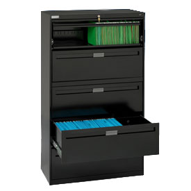 "Deluxe Fixed Front Lateral File Cabinet 42""W X 65""H - Black"