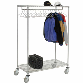 Garment Floor Clothing Rack With 18 Hangers, 2-Shelf