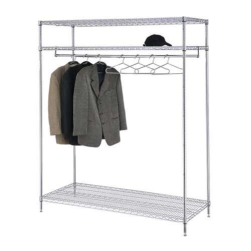 Garment Floor Rack With 24 Hangers, 3-Shelf