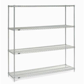"74""H Nexel Chrome Wire Shelving - 60""W X 14""D"