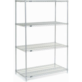 "74""H Nexel Chrome Wire Shelving - 48""W X 36""D"