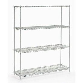 "86""H Nexel Chrome Wire Shelving - 48""W X 14""D"