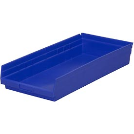 "Plastic Shelf Storage Bin - Nestable 11-1/8""W x 23-5/8"" D x 4""H Blue - Pkg Qty 6"