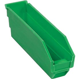 "Plastic Shelf Bin -  2-3/4""W x 11-5/8""D x 4""H Green - Pkg Qty 24"