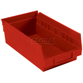 "Plastic Shelf Storage Bin - Nestable 6-5/8""W x 11-5/8"" D x 4""H Red - Pkg Qty 12"