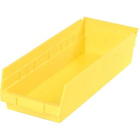 "Plastic Shelf Bin - 6-5/8""W x 17-7/8"" D x 4""H Yellow - Pkg Qty 12"
