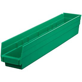 "Plastic Shelf Bin -  4-1/8""W x 23-5/8"" D x 4""H Green"