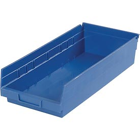 "Plastic Shelf Storage Bin - Nestable 8-3/8""W x 17-7/8"" D x 4""H Blue"
