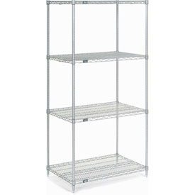 "74""H Nexel Chrome Wire Shelving - 24""W X 14""D"