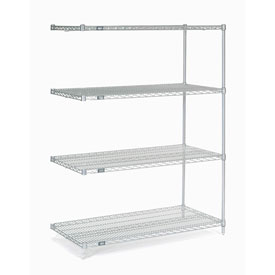 "74""H Nexel Chrome Wire Shelving Add-On - 42""W X 24""D"