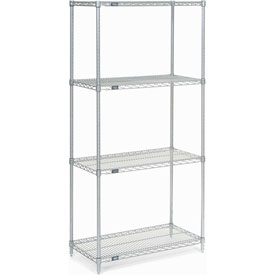 "86""H Nexel Chrome Wire Shelving - 30""W X 14""D"