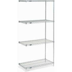 "74""H Nexel Chrome Wire Shelving Add-On - 36""W X 18""D"