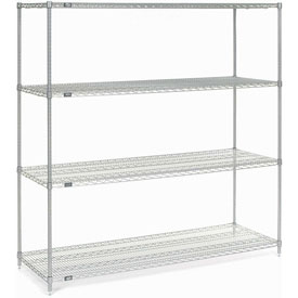 "86""H Nexel Chrome Wire Shelving - 72""W X 24""D"