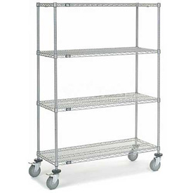 Nexel® Chrome Wire Shelf Truck 48x18x69 1200 Pound Capacity with Brakes