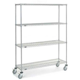Nexel® Chrome Wire Shelf Truck 60x18x80 1200 Pound Capacity with Brakes