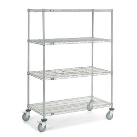 Nexel® Chrome Wire Shelf Truck 48x24x69 1200 Pound Capacity with Brakes