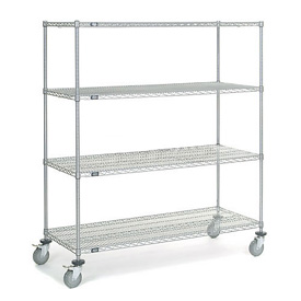 Nexel® Chrome Wire Shelf Truck 60x24x69 1200 Pound Capacity with Brakes