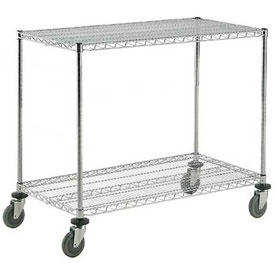 Nexel® Adjustable Chrome Wire Shelf Cart 60x18 2 Shelves 800 Lb. Capacity