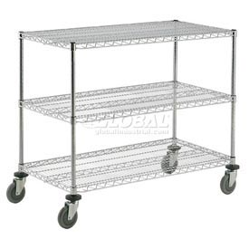 Nexel® Adjustable Chrome Wire Shelf Cart 36x24 3 Shelves 800 Lb. Capacity