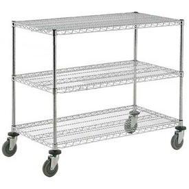 Nexel® Adjustable Chrome Wire Shelf Cart 48x24 3 Shelves 800 Lb. Capacity