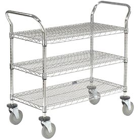 Nexel® Wire Utility Cart 36x18 3 Shelves 800 Lb. Capacity