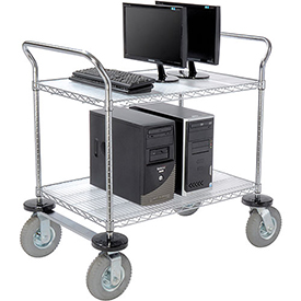 Nexel® Chrome Wire Shelf Instrument Cart 36x24 2 Shelves 1200 Lb. Capacity