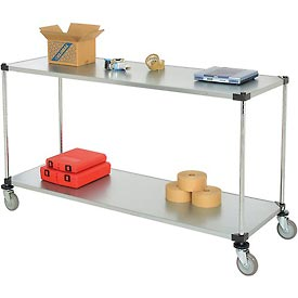 Nexel® Adjustable Solid Galvanized Shelf Cart 72x24 2 Shelves 800 Lb. Cap