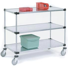 Nexel® Adjustable Solid Galvanized Shelf Cart 60x18 3 Shelves 800 Lb. Cap