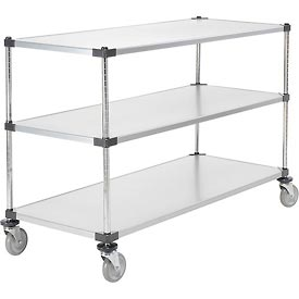 Nexel® Adjustable Solid Galvanized Shelf Cart 60x24 3 Shelves 800 Lb. Cap