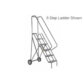 8 Step Steel Roll and Fold Rolling Ladder - Perforated Tread - KDRF108166