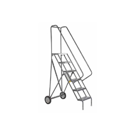 6 Step Steel Roll and Fold Rolling Ladder - Grip Strut Tread - KDRF106162