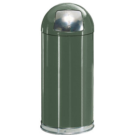 Rubbermaid® R1530EPL 12 Gallon Round Dome Top Waste Receptacle with Plastic Liner - Green
