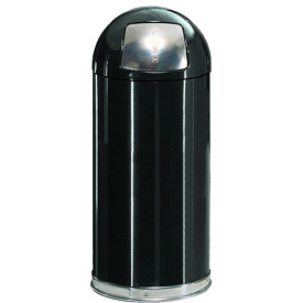 15 Gallon Round Top Waste Receptacle with Plastic Liner - Black