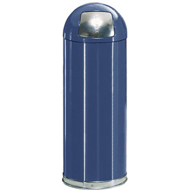 Rubbermaid® R1536EPL 15 Gallon Round Dome Top Waste Receptacle with Plastic Liner - Blue