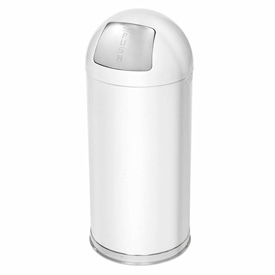 15 Gallon Round Top Waste Receptacle with Galvanized Liner - White