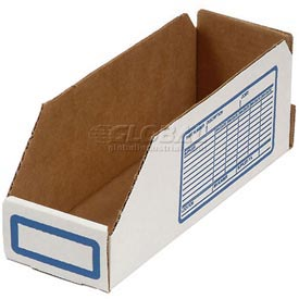 "Foldable Corrugated Shelf Bin 8""W x 18""D x 4-1/2""H, White - Pkg Qty 100"