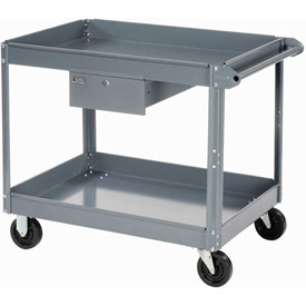 Edsal 2 Shelf Deep Tray Steel Stock Cart 30x16 800 Lb. Capacity with 1 Drawer