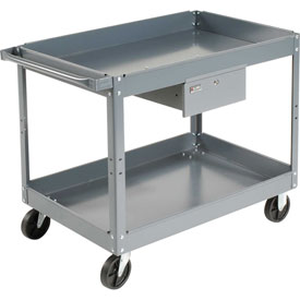 Edsal SC2124 2 Shelf Deep Tray Steel Stock Cart 36x24 500 Lb. Cap. with 1 Drawer