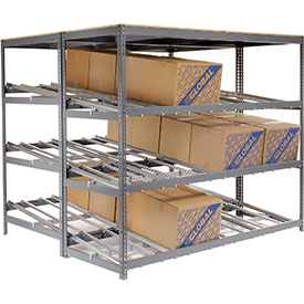 "Carton Flow Shelving Double Depth 4 LEVEL 96""W x 72""D x 84""H"