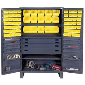 Durham Security Work Center & Storage Cabinet JCBDLP694RDR-95 - Flush Doors, With 69 Bins