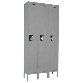 Hallowell UY3228-1 Maintenance-Free Quiet Locker Single Tier 12x12x72 3 Door Ready To Assemble Gray