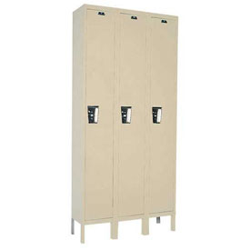 Hallowell UY3258-1PT Locker Single Tier 12x15x72 3 Door Ready To Assemble Parchment