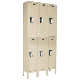 Hallowell UY3588-2PT Locker Double Tier 15x18x36 6 Door Ready To Assemble Parchment