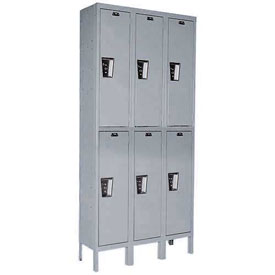 Hallowell UY3888-2HG Locker Double Tier 18x18x36 6 Door Ready To Assemble Gray