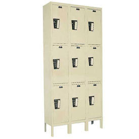 Hallowell UY3228-3 Maintenance-Free Quiet Locker Triple 12x12x24 9 Door Ready To Assemble Parchment
