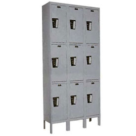 Hallowell UY3258-3HG Locker Triple Tier 12x15x24 9 Door Ready To Assemble Gray
