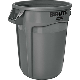 Rubbermaid Brute® 2632 Trash Container w/Venting Channels, 32 Gallon - Gray