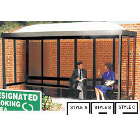 Smoking Shelter Dome Roof Three Sided With Open Front 12'X 5'
