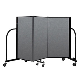 "Screenflex Portable Room Divider 3 Panel, 4'H x 5'9""L, Fabric Color: Gray"