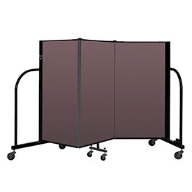 "Screenflex Portable Room Divider 3 Panel, 4'H x 5'9""L, Fabric Color: Mauve"